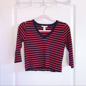 Red And Black Striped Crop Top